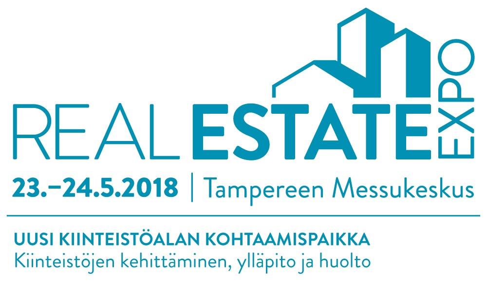 Real Estate Expo-tapahtuman logo. Optima on mukana tapahtumassa 23.-24.5.2018 Tampereella